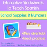 Worksheets to Teach Spanish:  School Supplies & Numbers