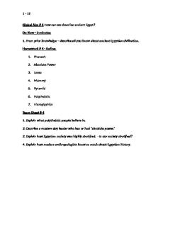 Worksheets to accompany Global History Aims 1 - 15