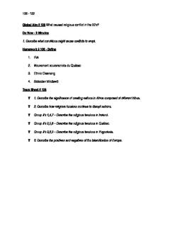 Worksheets to accompany Global History Aims 106 - 122