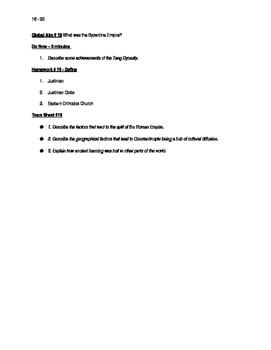 Worksheets to accompany Global History Aims 16 - 30