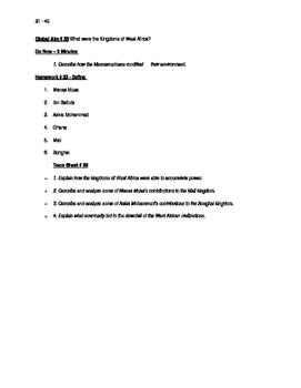 Worksheets to accompany Global History Aims 31 - 45