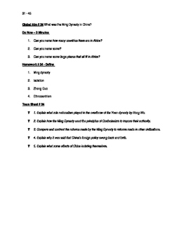 Worksheets to accompany Global History Aims 31 - 45