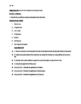 Worksheets to accompany Global History Aims 46 - 60