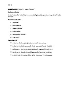 Worksheets to accompany Global History Aims 76 - 90