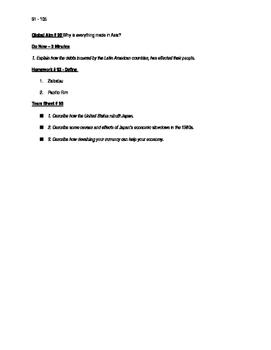Worksheets to accompany Global History Aims 91 - 105