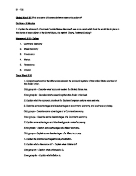 Worksheets to accompany Global History Aims 91 - 105