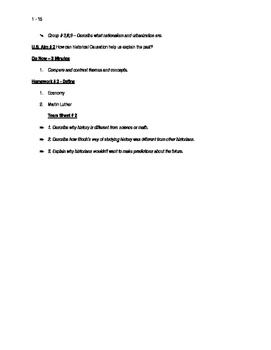 Worksheets to accompany U.S. History Aims 1 - 15