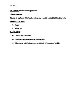 Worksheets to accompany U.S. History Aims 121 - 135