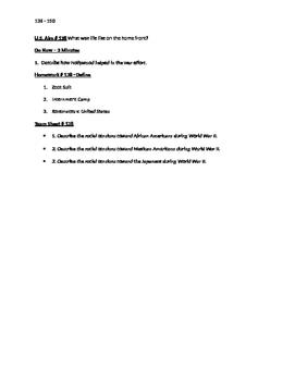 Worksheets to accompany U.S. History Aims 136 - 150