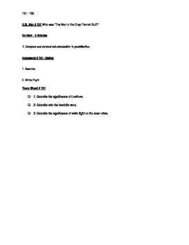 Worksheets to accompany U.S. History Aims 151 - 165