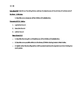 Worksheets to accompany U.S. History Aims 16 - 30