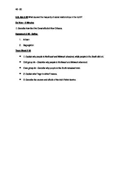 Worksheets to accompany U.S. History Aims 46 - 60