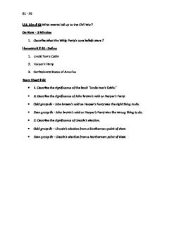 Worksheets to accompany U.S. History Aims 61 - 75