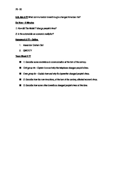 Worksheets to accompany U.S. History Aims 76 - 90