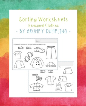 Worksheets with Seasonal Clothes