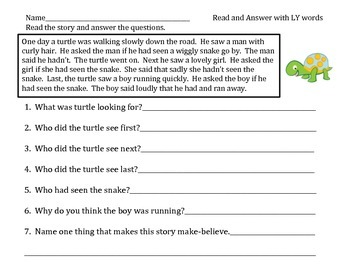 """Worksheets with the suffix  """"ly"""" sound in them!"""