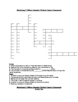 Workshop 2 (When Disaster Strikes) Comprehension & Topics Crosswords (2 Pack!)