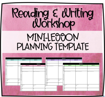 Workshop 3 Day Mini Lesson Plan Template (Lucy Calkins)