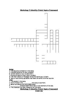 Workshop 3 (Identity Crisis) Comprehension & Topics Crosswords (2 Pack!)