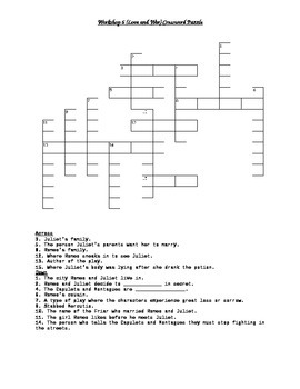 Read 180 FLEX2 Workshop 6 (Love and War) Comprehension Crossword Puzzle