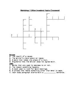 Workshop 7 (Alien Invaders) Comprehension & Topics Crosswords (2 Pack!)