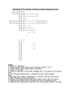 Workshop 9 (The Streets of Harlem) Comprehension & Topics Crosswords (2 Pack!)