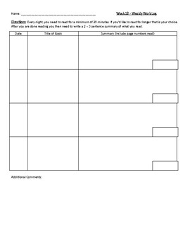 Workshop Agenda Template and Reading Log