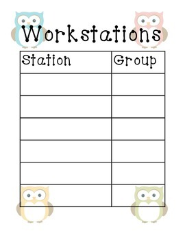 Owl-Themed Workstation Group Posters