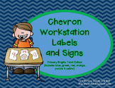 Workstation Labels & Signs in Primary Brights Tonal Chevron