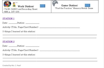 Workstation Log Template (Any subject/grade level)