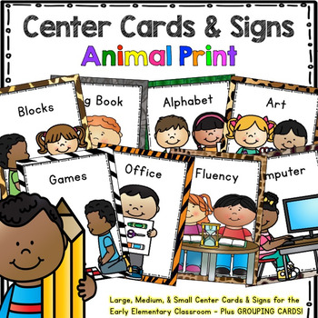 Programmable Center Signs and Cards - (Animal Print)
