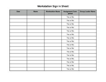 Workstation Sign In Sheet