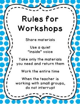 K-2 Workstation / Workshop / Center Rules Posters