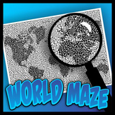 World Map Pictorial Maze - Intricate, full-page maze activity