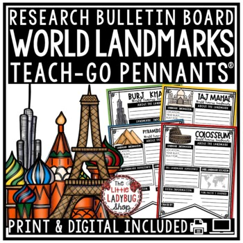 World Landmarks Research Project Templates • Teach- Go Pennants™