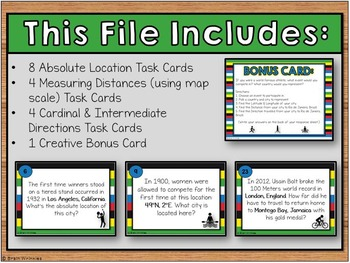 World Athletic Competition Map Skills Task Cards