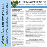 World Autism Awareness Day Handout for Parents and Teachers