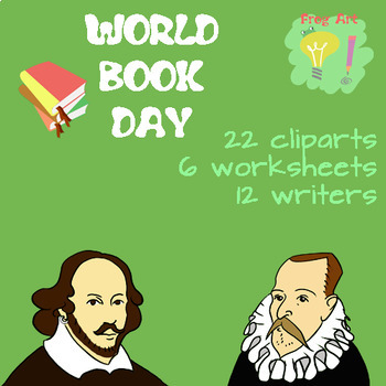 World Book Day - 22 Cliparts + 6 worksheets with key! NO PREP / BUNDLE