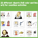 World Book Day - Cliparts (Full color and line art) - American writers!