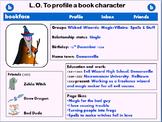 Creative Writing  English lesson - design a 'bookface' character profile