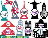 World Buildings Construction clip art travel rome italy france brazil abc -230s