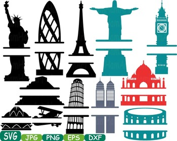 World Buildings Construction clip art travel rome italy france brazil abc -232s