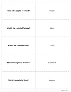 World Capitals & Major Cities - TRIVIA CARDS