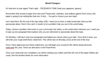 World Changers Passion Project: A Research Unit
