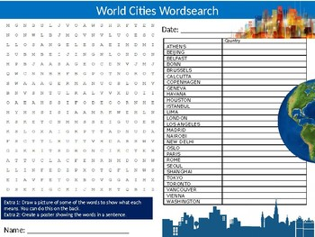 World Cities Wordsearch Sheet Starter Activity Keywords Cover Geography