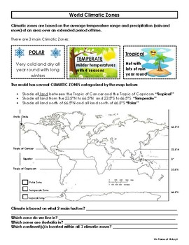 world climatic zones worksheet map activity by in praise of history. Black Bedroom Furniture Sets. Home Design Ideas