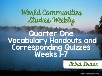 World Communities Studies Weekly Vocabulary Handouts/ Quizzes First Quarter
