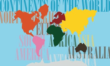 World Continent Map - Interactive on Felt or Paper, 3x5 ft.