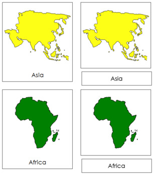 World Continents: 3-Part Cards
