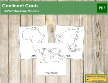 World Continents: 3-Part Cards (B/W)